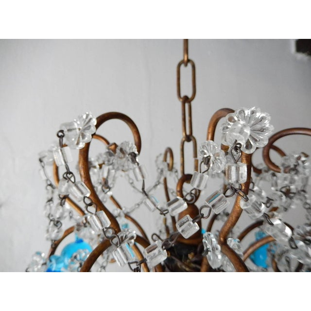 French Blue Murano Balls Beaded Swags Chandelier, circa 1900 For Sale - Image 12 of 13