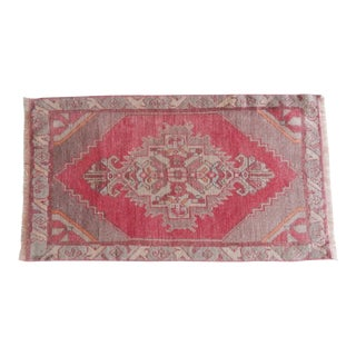 Distressed Low Pile Small Rug Turkish Hand Knotted Bath Mat Yastik Rug 1′10″ × 3′3″ For Sale