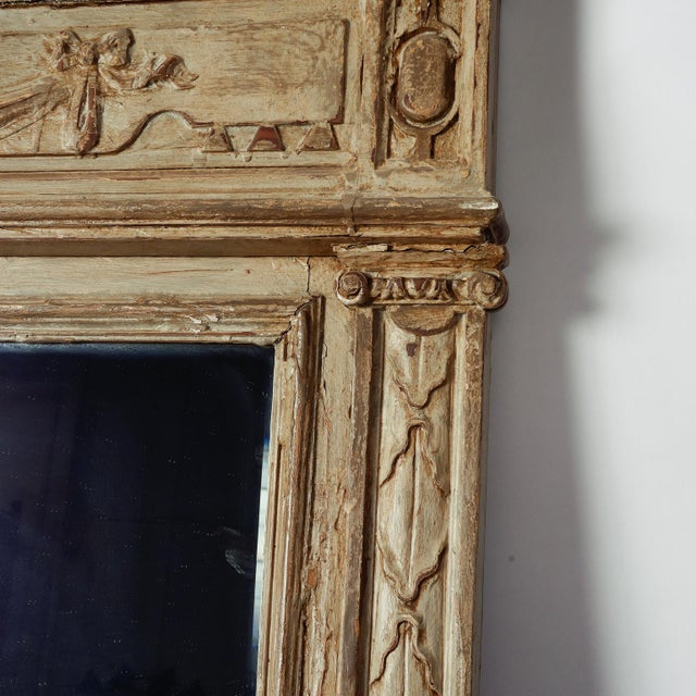Large Painted Green Gray Mirror With Carved Details For Sale In Detroit - Image 6 of 8