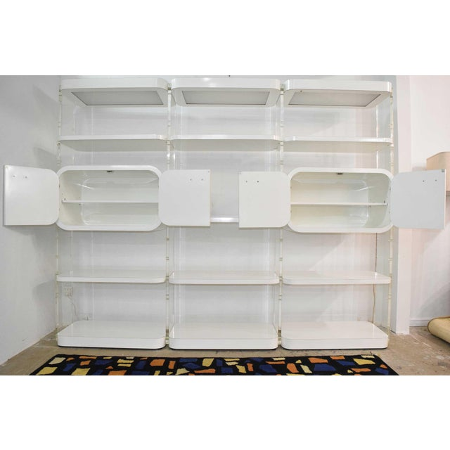 1970s White Lacquer Bookcases or Storage Unit After Pace Collection or Milo Baughman For Sale - Image 10 of 13
