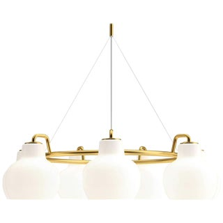 Vilhelm Lauritzen 7-Shade Brass & Glass Ring Chandelier for Louis Poulsen For Sale