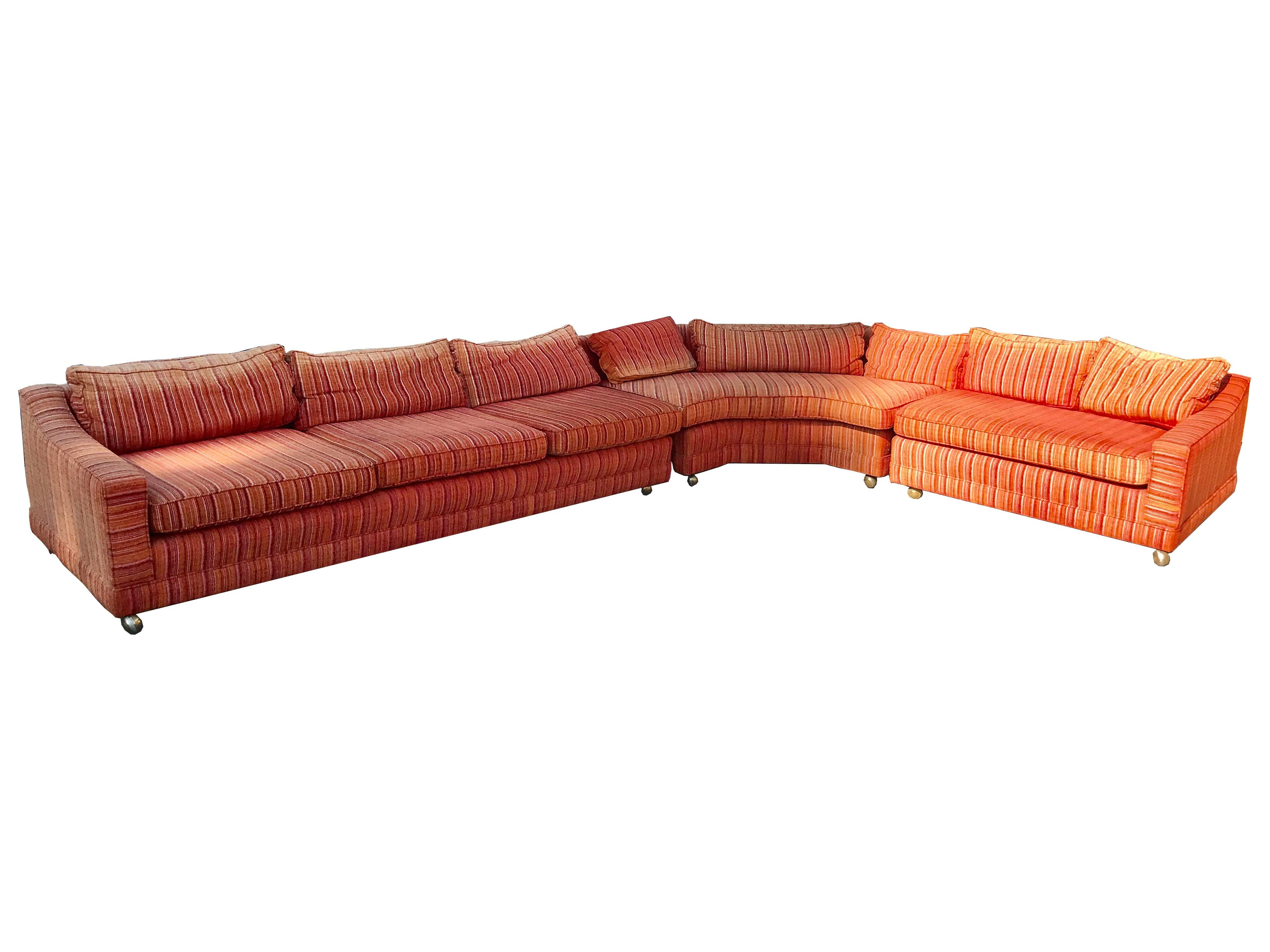 Vintage Mid Century Orange Sectional Sofa Chairish