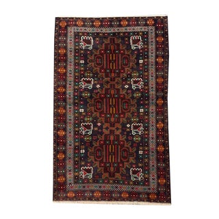 "Traditional Tribal Style Baluchi Handmade Rug - 3'9"" X 6'4"" For Sale"