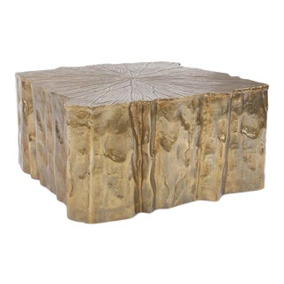 Faux Bois Metal Coffee Table For Sale
