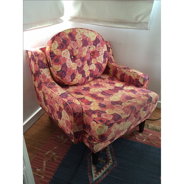Rose Print Upholstered Chair - Image 4 of 5