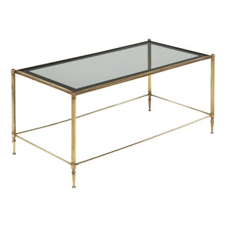 Brass and Smoked Glass Coffee Table For Sale
