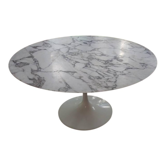 Saarinen Honed Carrera Marble Round Tulip Table With White Base - 54 saarinen table