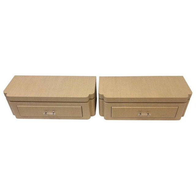Grasscloth Floating Nightstands by Steve Chase - a Pair For Sale - Image 10 of 10