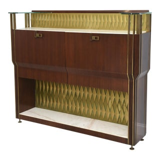 Rare French Modern Mahogany, Bronze and Brass Bar Cabinet, Raphael For Sale