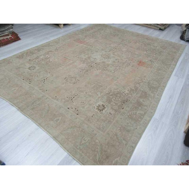 Persian Washed Out Tabriz Rug- 9′1″ × 12′6″ For Sale - Image 5 of 6
