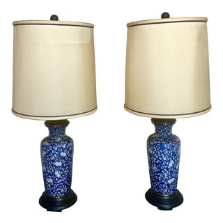 Paul Hanson Vintage Porcelain Chinoiserie Lamps With Shades - a Pair For Sale