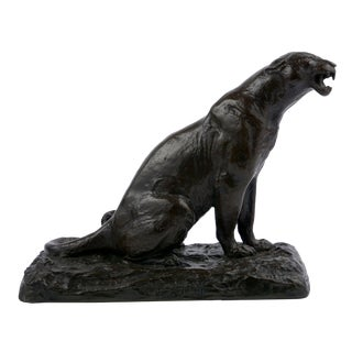 """Roaring Jaguar"" French Modernism Bronze Sculpture by Adolphe Geoffroy For Sale"