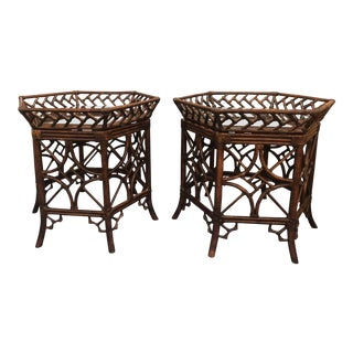 Chippendale Tropical Palm Beach Style Rattan Wicker and Side Tables - a Pair For Sale