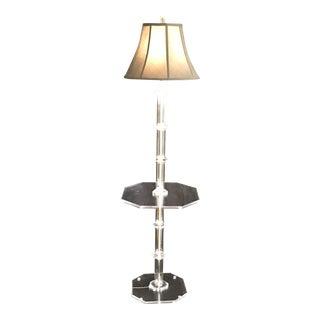 Vintage Modern Hollywood Regency All Lucite Acrylic Octogone Lamp Table Jewel Like Details For Sale