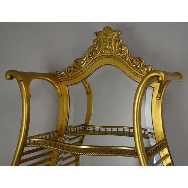 Wood Victorian Era French Louis XV Style Gilt Mirror Back Etagere For Sale - Image 7 of 13