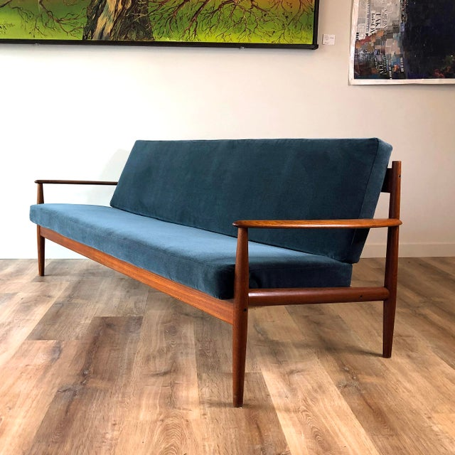 Vintage Grete Jalk for France & Sons Model 118 Reupholstered Teak Sofa For Sale - Image 11 of 11