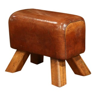 Early 20th Century Czech Pommel Horse Bench With Patinated Brown Leather For Sale