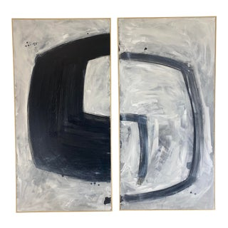 Contemporary Minimalist Abstract Painting Diptych by Evan Bush, Framed - a Pair For Sale