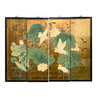 Asian Hand Painted Gold Leaf 4 Panel Screen Wall Art For Sale