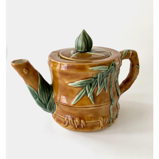 Vintage Ceramic Teapot With Bamboo Relief Carving For Sale - Image 13 of 13