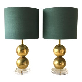 Unique Pair of Spherical Brass and Lucite Based Table Lamps For Sale