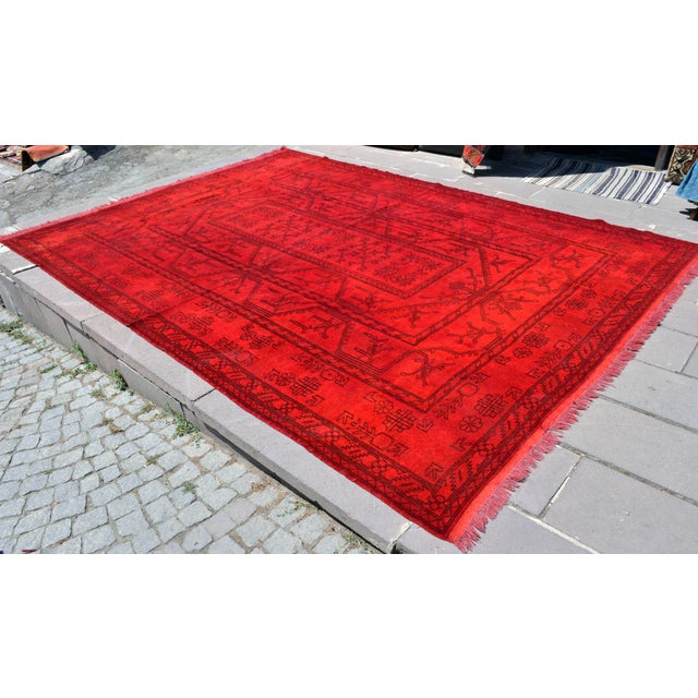 "Dimenisons: 101"" x 140.2"" Excluding Fringes Material : Wool on wool Condition: Used. In Very Good condition. Rug has been..."