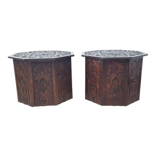 20th Century Octagonal Hand Carved Wooden End Tables - a Pair For Sale