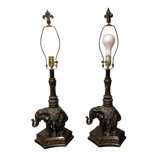 Georgian Bronze Colored Elephant Lamps With Shades - a Pair For Sale