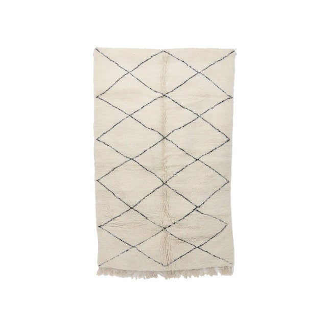 """Contemporary Beni Ourain Vintage Moroccan Rug - 5'1"""" X 8'4"""" For Sale - Image 6 of 6"""