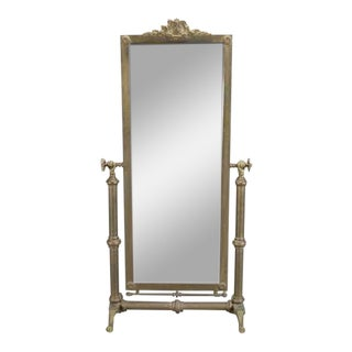 1900s Vintage Brass Cheval Mirror For Sale