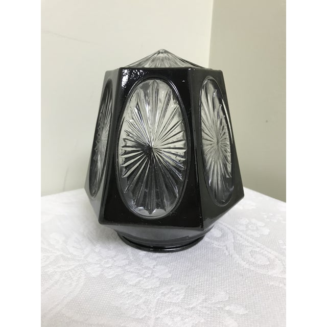 This is a 1950s vintage black & clear hexagon shaped glass sconce shade. Perfect for front door lantern or individual...