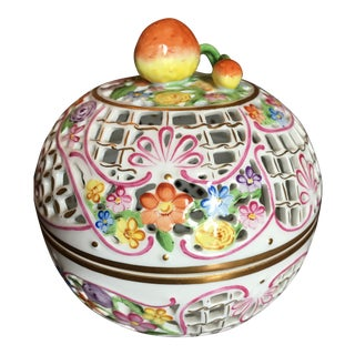 1980's Herend Reticulated Potpourri Ball For Sale