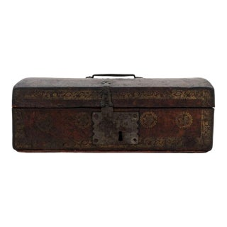 Antique Leather Strong/Document Box For Sale