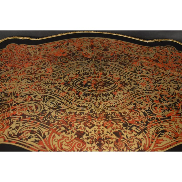 Gold 19th Century Tortoise Shell Table With Boulle Marquetry For Sale - Image 8 of 13