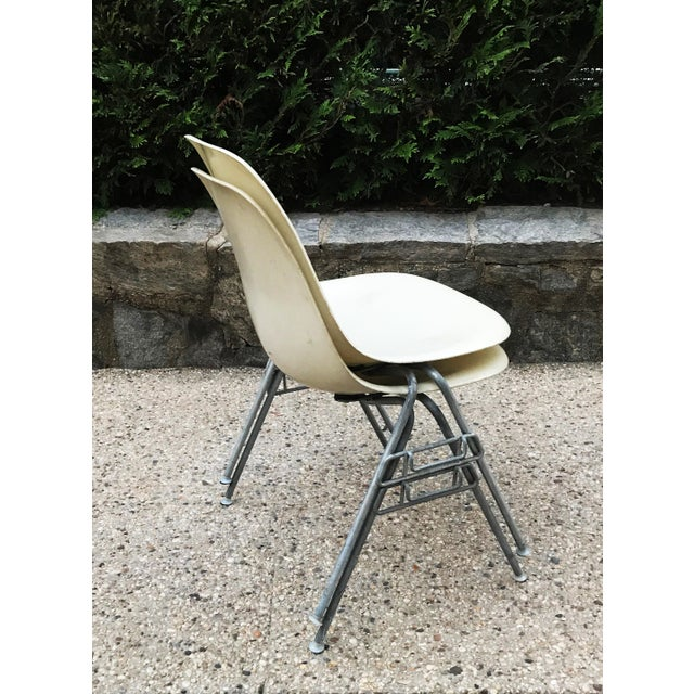Herman Miller Pair of Early 1957 Dated Eames Parchment Side Fiberglass Shell Chairs Stacking Base Original MCM For Sale - Image 4 of 11