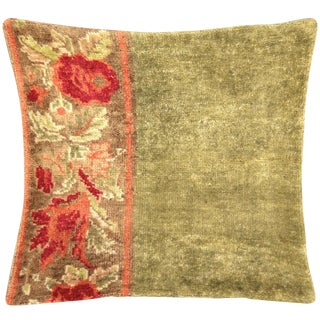 """Nalbandian - 1960s Turkish Floral Oushak Pillow - 22"""" X 24"""" For Sale"""