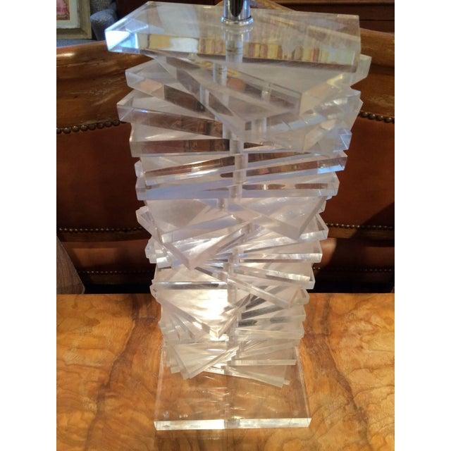 Metal Hollywood Regency Sculptural Helix Lucite Lamp For Sale - Image 7 of 11