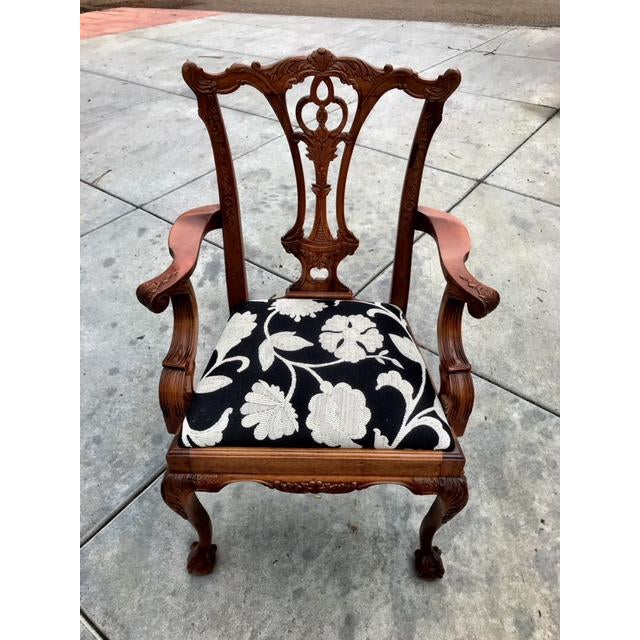Reproduction Chippendale Dining Chairs - eight chairs (6 side and 2 arm). Claw and ball legs and open fretwork backs....