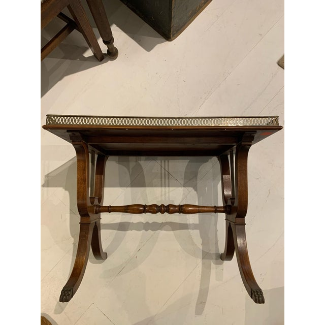 1940s Traditional Side/Coffee Table With Brass Gallery For Sale - Image 10 of 10