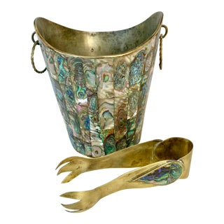 Vintage Abalone and Brass Ice Bucket and Tongs For Sale