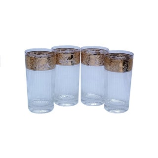 """Vintage Culver """"Tyrol"""" 22k Gold Rimmed Highball Tumbler Glasses - Set of 4 For Sale"""
