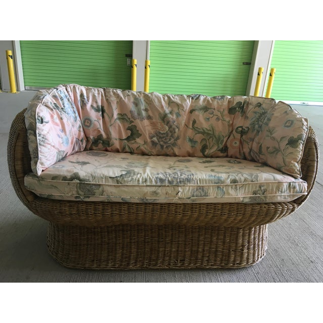 Fabric Vintage Wicker Barrel Back Settee For Sale - Image 7 of 12