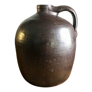 Antique Brown Salt Glaze Whiskey Jug For Sale