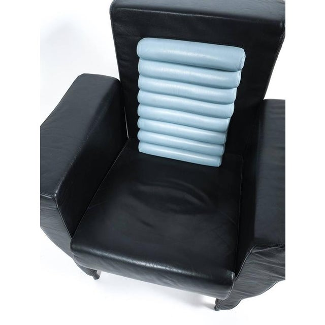 Italian Leather Armchair by Ugo La Pietra, 1985 For Sale - Image 3 of 4