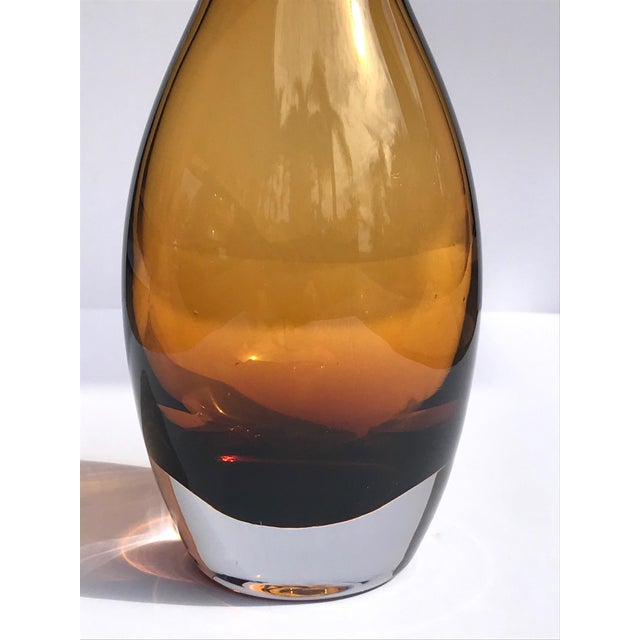 Vintage 1970s Scandinavian Modern Sommerso Glass Vase in Amber For Sale - Image 10 of 13
