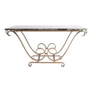 Italian Brass Cocktail Table With Green Marble For Sale