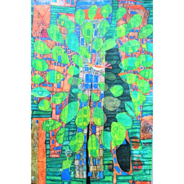 "1970s Friedrich Hundertwasser ""Singing Bird on a Tree"", Framed and Matted Print For Sale - Image 5 of 7"