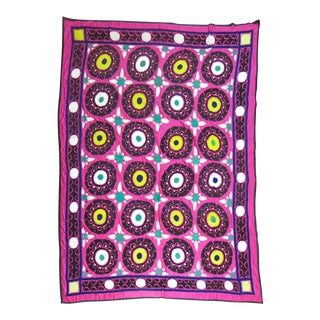 Bright Pink Suzanni Embroidery Textile For Sale