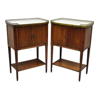 Maison Jansen Style French Louis XVI Directoire Marble Top Nightstands - a Pair For Sale