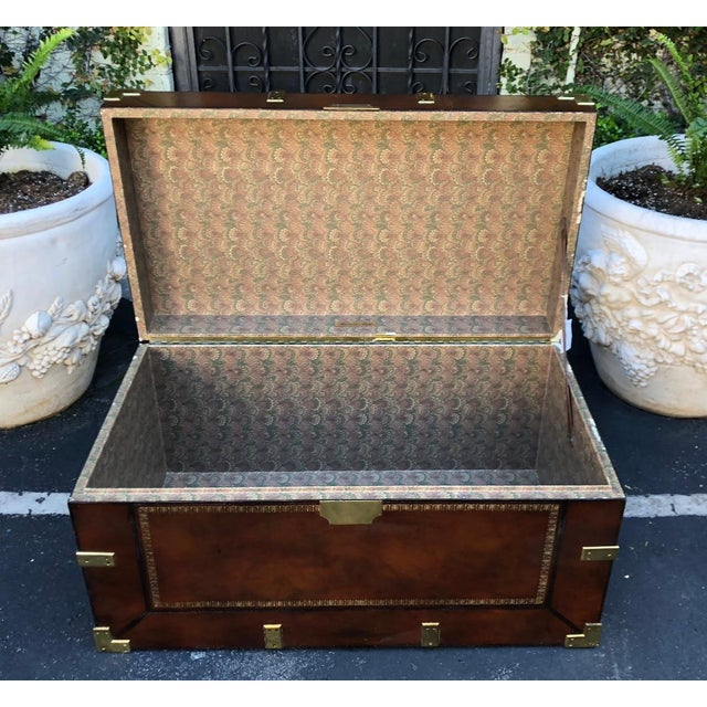 Art Deco Maitland Smith Designer Leather Campaign Trunk For Sale - Image 3 of 6